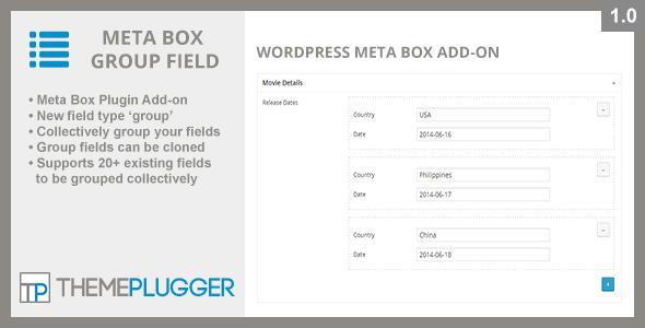 CodeCanyon Meta Box Group Field WordPress Meta Box Add-on 8020113