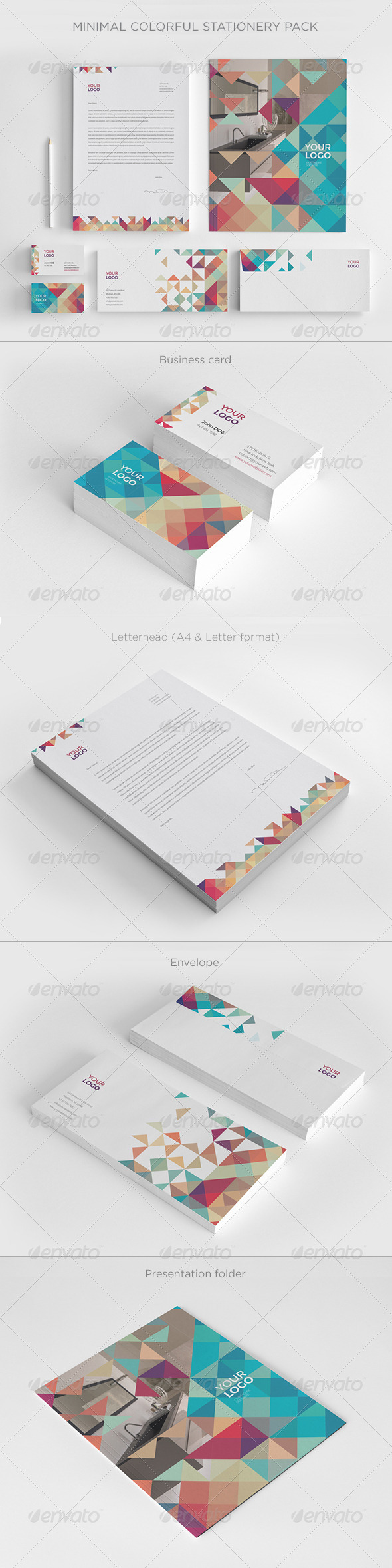 GraphicRiver Minimal Colorful Stationery 8020240