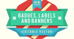 Badges, banners, labels and logotypes