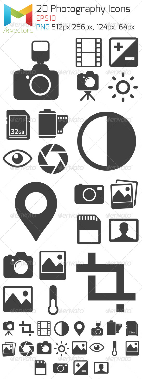 GraphicRiver 20 Vector Photography Icons and glyphs 8021033