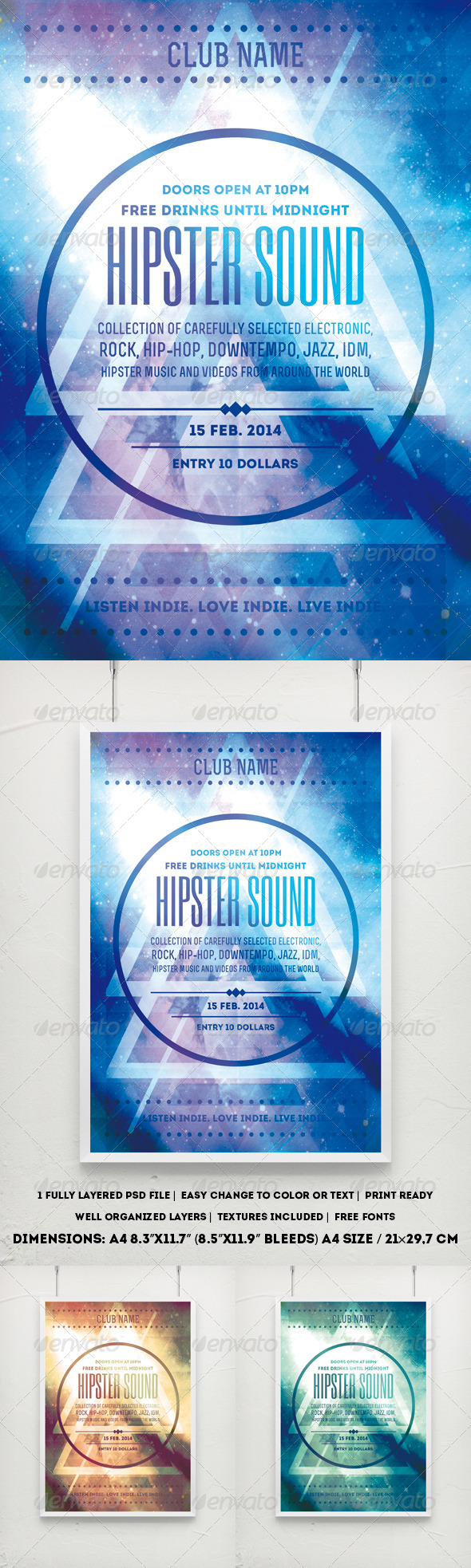GraphicRiver Hipster Party Poster 8021374