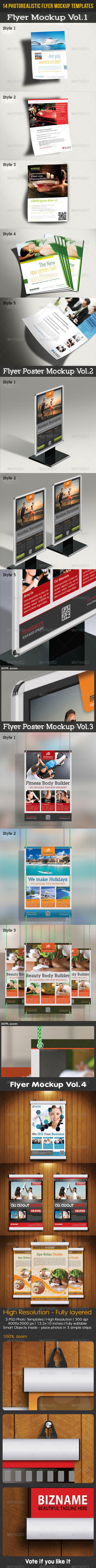 GraphicRiver 14 Flyer Mockup Templates Bundle 8021404