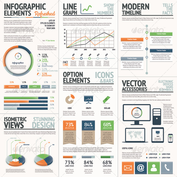 GraphicRiver Fresh Orange and Green Vector Infographic Elements 8021561