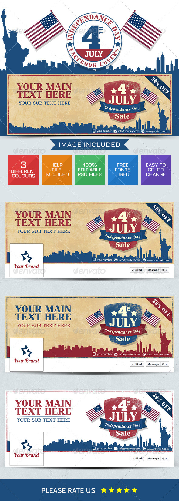 GraphicRiver July 4th Sale Facebook Cover Page 8021781