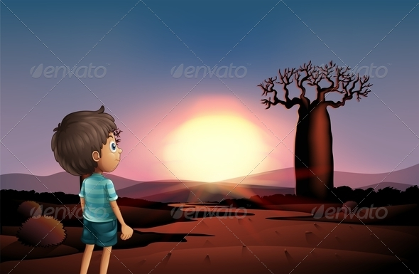 GraphicRiver Boy Watching the Sunset 8021871
