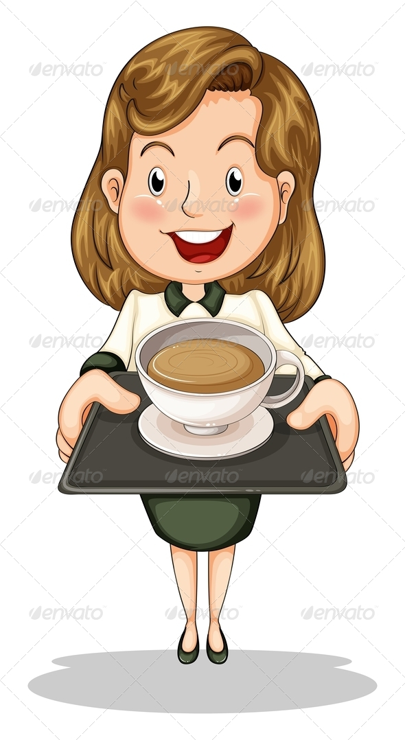 GraphicRiver Woman with Coffee on Tray 8021892