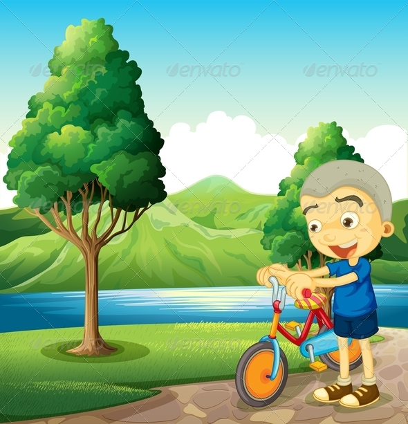 GraphicRiver Boy Playing with his Bike 8021894