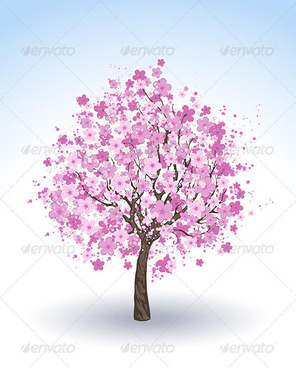 GraphicRiver Flowering Cherry Tree 8021895