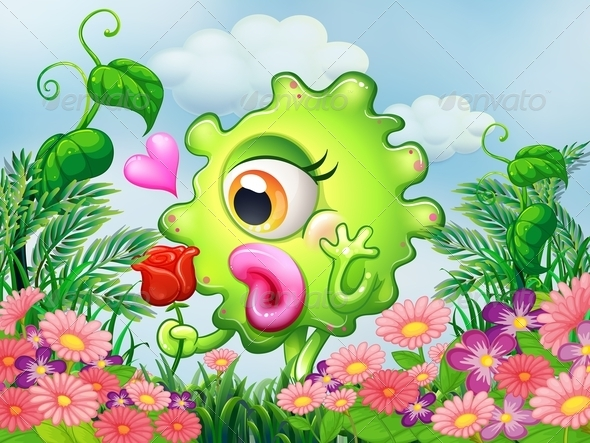 GraphicRiver Monster with Flowers 8021896