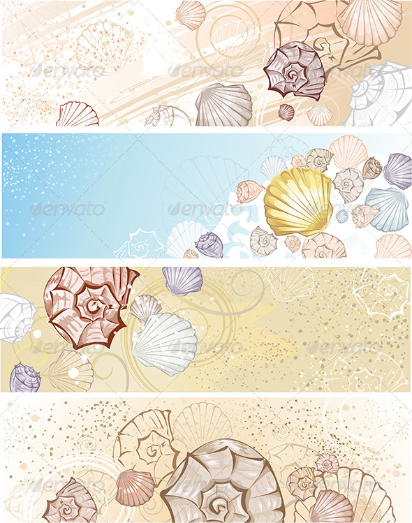 GraphicRiver Four Banners with Seashells 8021910