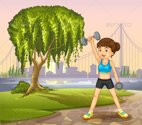 GraphicRiver Girl Exercising in the Park 8021919