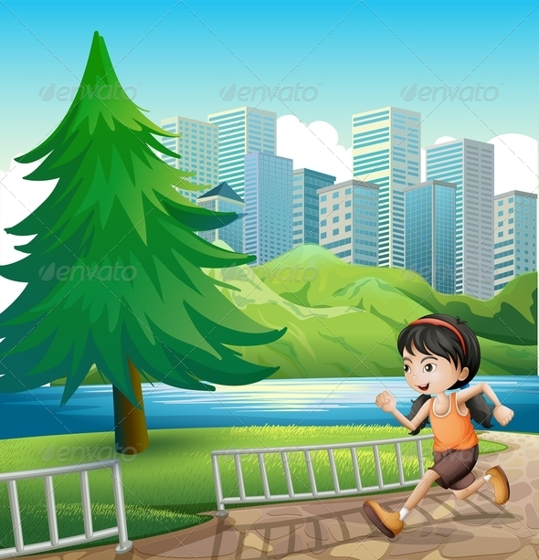 GraphicRiver A Young Girl Running at the Riverbank 8021927