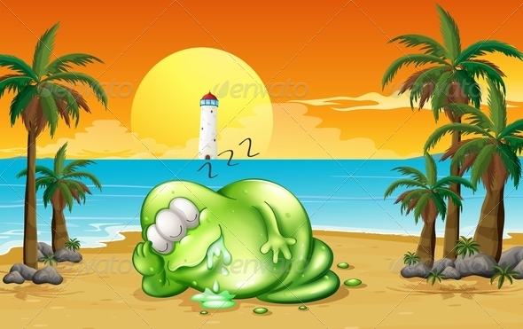 GraphicRiver A Monster Sleeping Soundly at the Beach 8021944