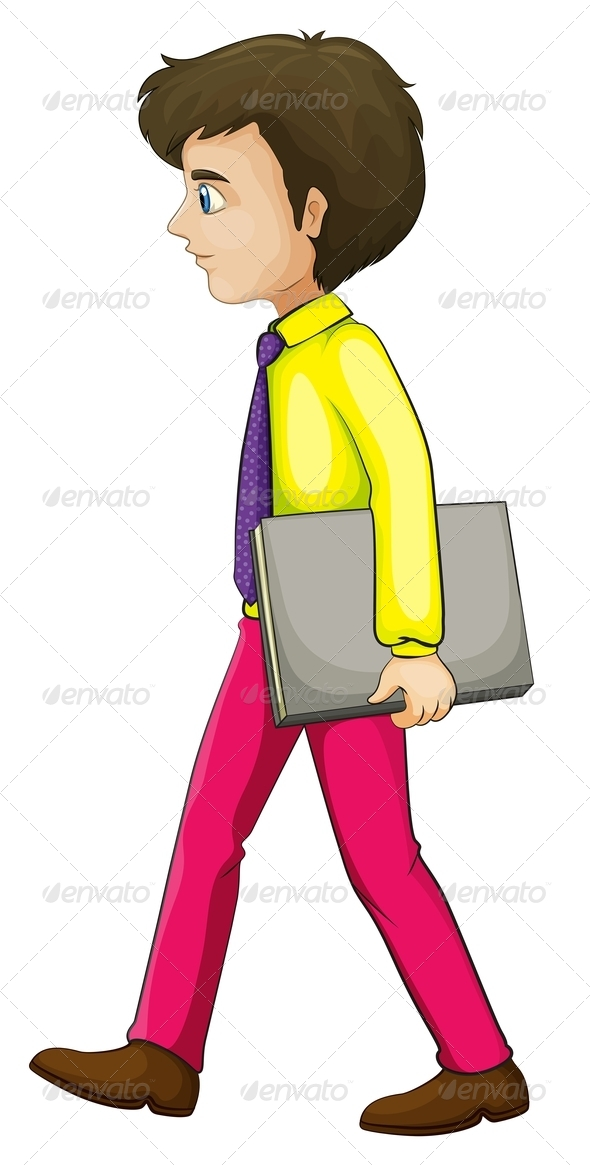 GraphicRiver A Businessman Walking Seriously While Holding a Book 8021945