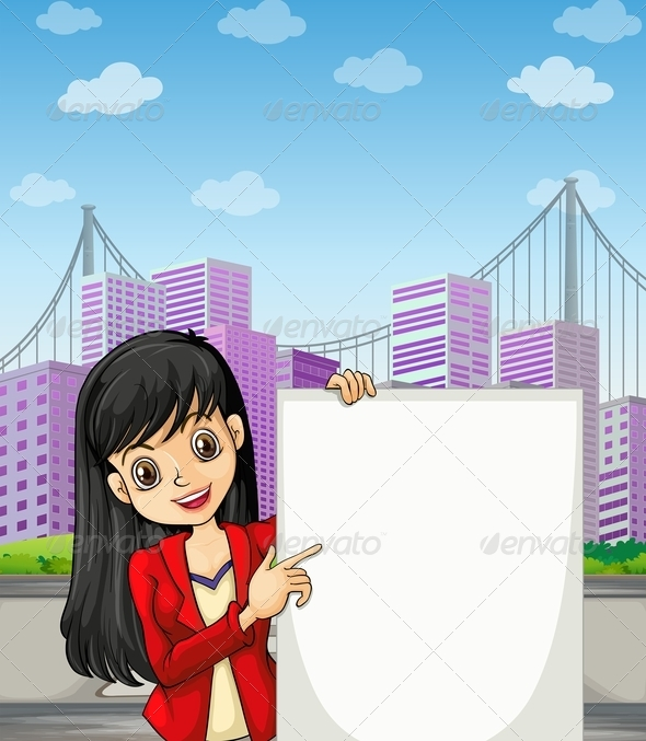GraphicRiver A Beautiful Girl with an Empty Signage 8021952