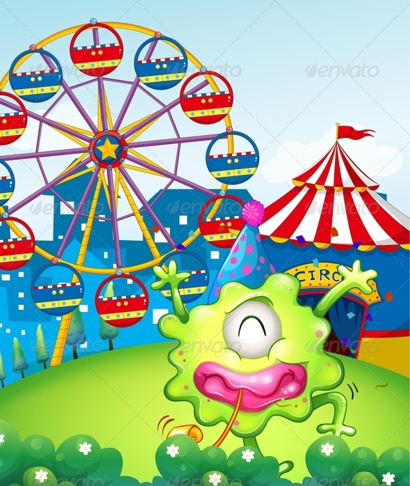 GraphicRiver A Carnival at the Hilltop at the Back of the Green 8021953