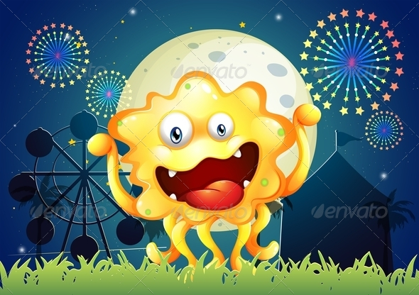 GraphicRiver An Orange Monster at the Carnival 8021954