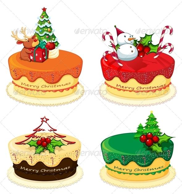 GraphicRiver Four Cake Designs for Christmas 8021973