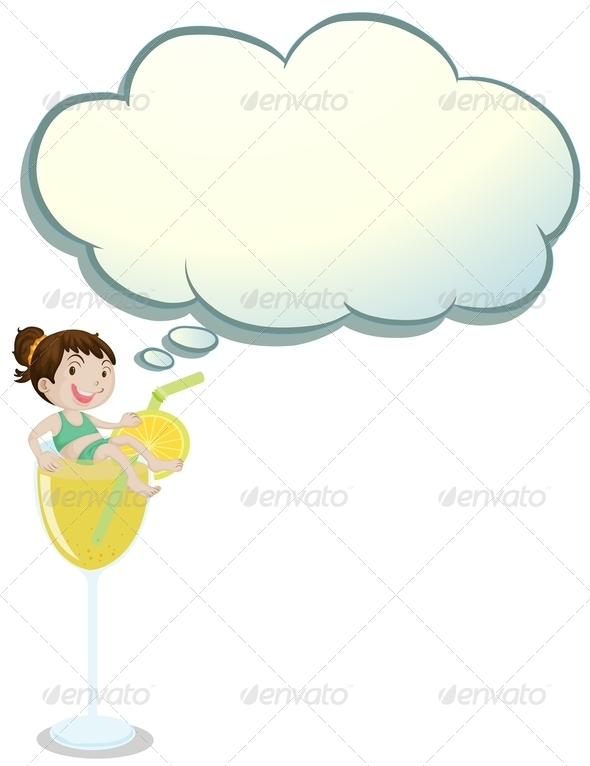 GraphicRiver A Girl Above the Glass with an Empty Callout 8021978