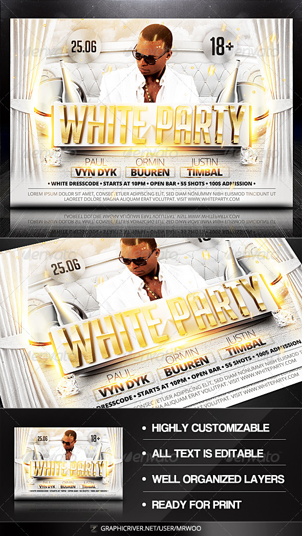 GraphicRiver White Party Flyer 8021985