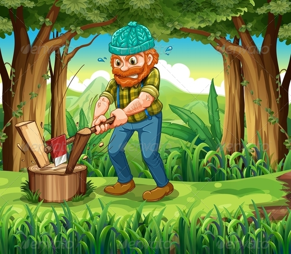 GraphicRiver A Hardworking Woodman at the Forest 8021986