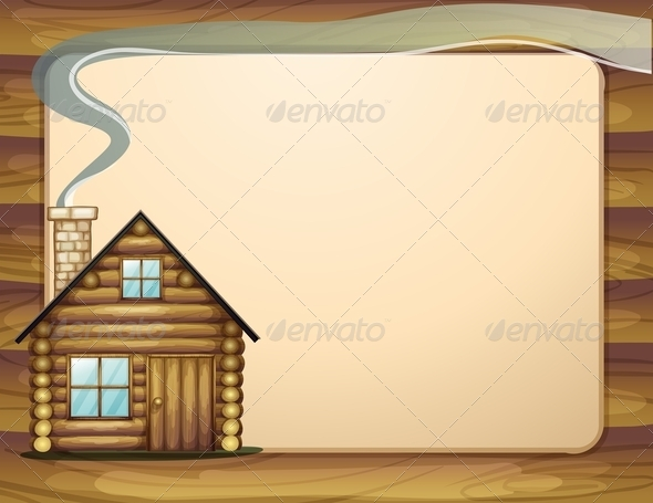 GraphicRiver An Empty Wooden Template with a Wooden House 8021988