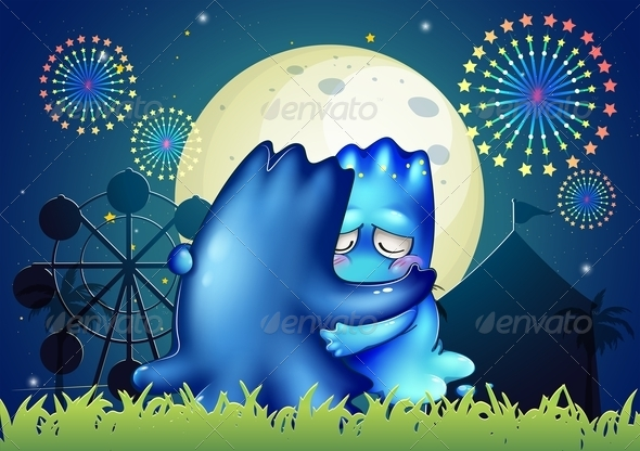GraphicRiver Two Monsters Comforting Each Other at the Carnival 8021989