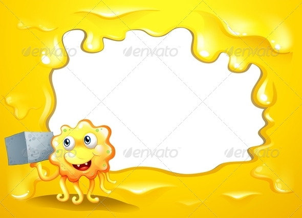 GraphicRiver A Yellow Border Design with a Smiling Monster 8021990
