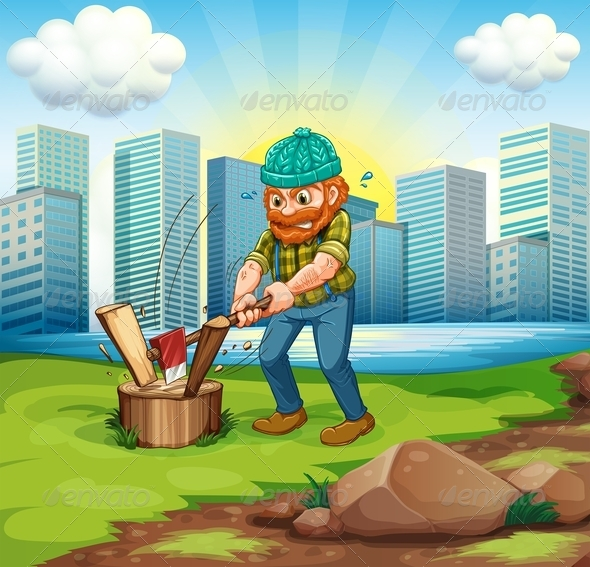 GraphicRiver A Man Chopping Wood Infront of the Tall Buildings 8022001