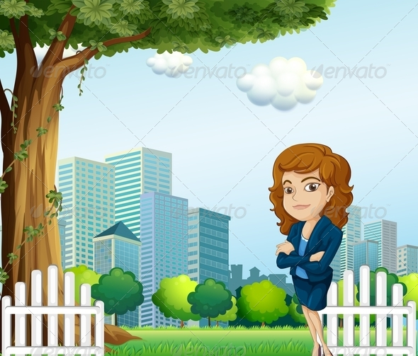 GraphicRiver A Girl Relaxing on her Break Time Near the Tree 8022006