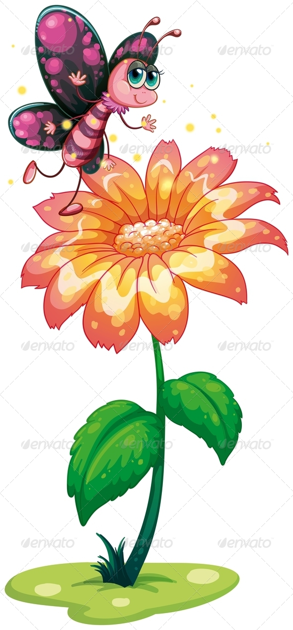 GraphicRiver A Butterfly Above the Giant Flower 8022007