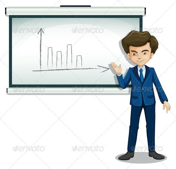 GraphicRiver A Man Explaining the Graph in the Bulletin Board 8022010