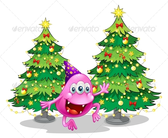 GraphicRiver A Pink Beanie Monster Near the Green Christmas Trees 8022012