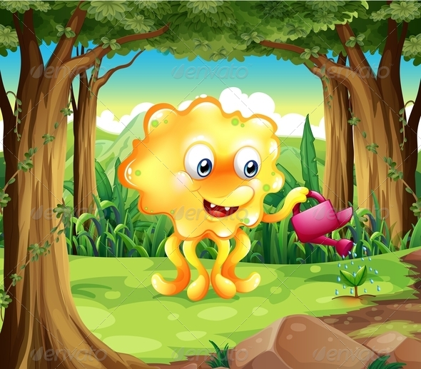 GraphicRiver A Monster Watering the Plant with a Pink Sprinkler 8022018