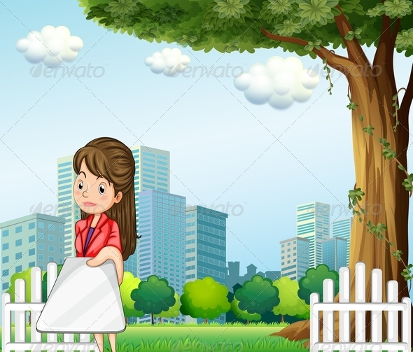 GraphicRiver A Woman Using her Gadget in Front of the Building 8022024