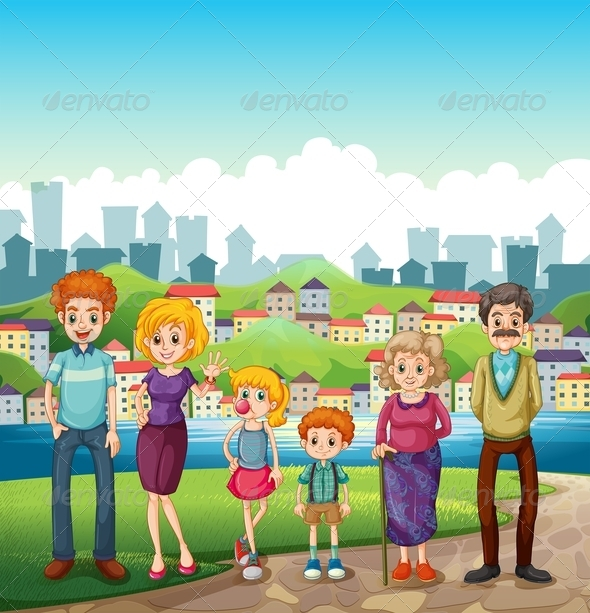 GraphicRiver A Family at the Riverbank 8022026