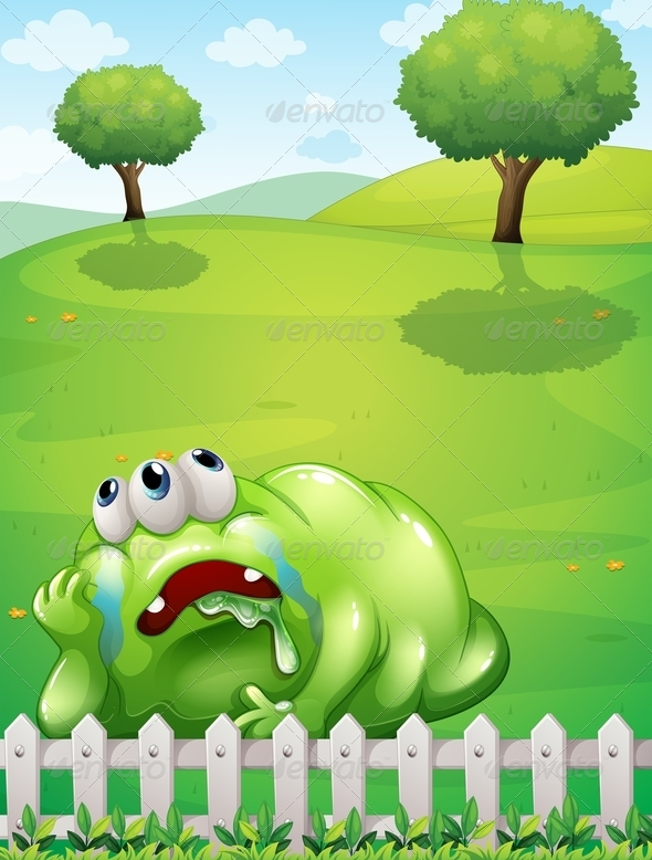 GraphicRiver A Tired Monster at the Hilltop Resting Near the Fence 8022028