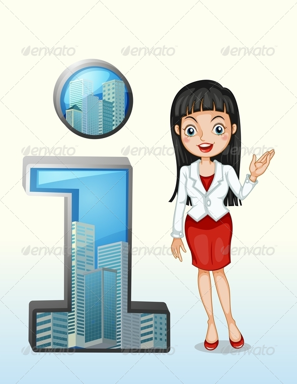 GraphicRiver Letter I Symbol Beside a Businesswoman 8022041