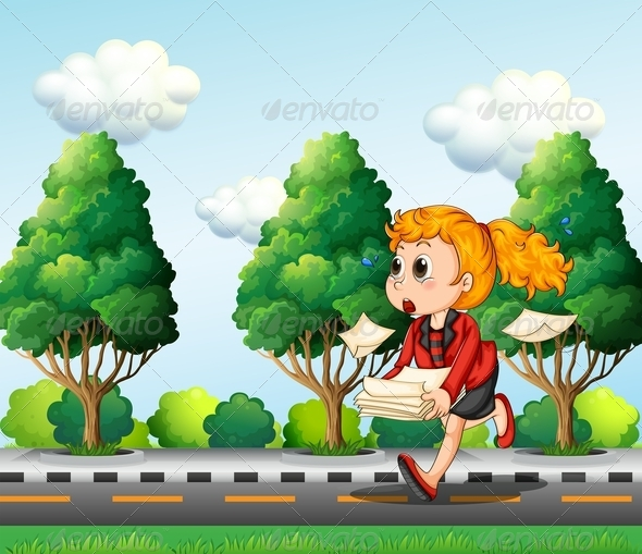 GraphicRiver A Girl Running Hurriedly Carrying Papers 8022042