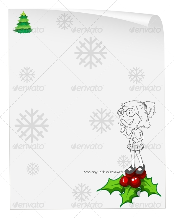 Christmas Card Template with a Smiling Girl