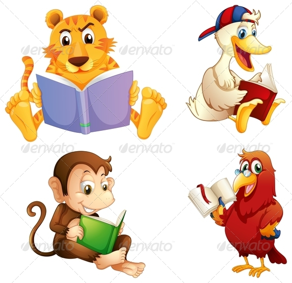GraphicRiver Four Animals Reading 8022063