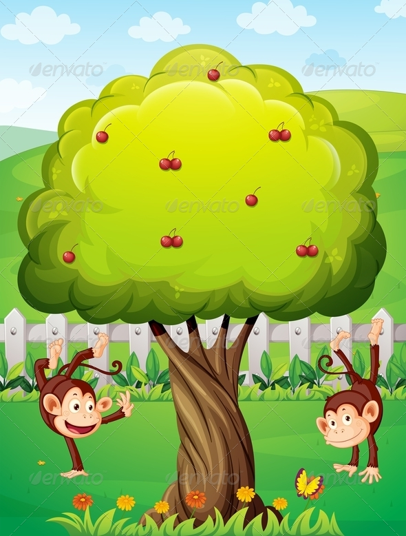 GraphicRiver Two Monkeys Playing in the Yard 8022089