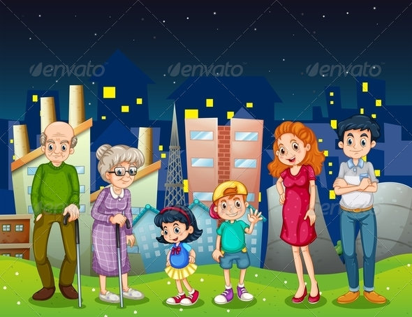 GraphicRiver Family Standing in Front of a City 8022091