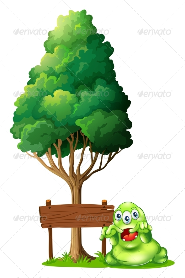 GraphicRiver A Monster and a Signboard Under a Tree 8022094