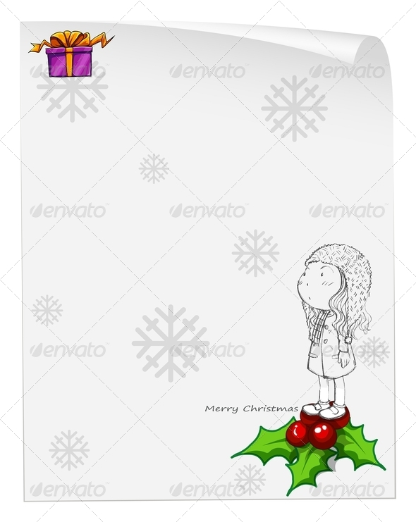 GraphicRiver Christmas Card Template with a Young Girl 8022095