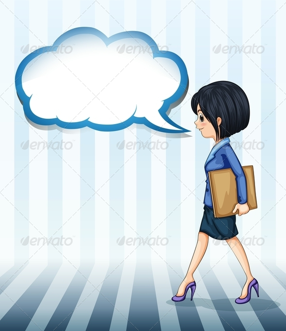 GraphicRiver A Girl Walking with an Empty Callout 8022099