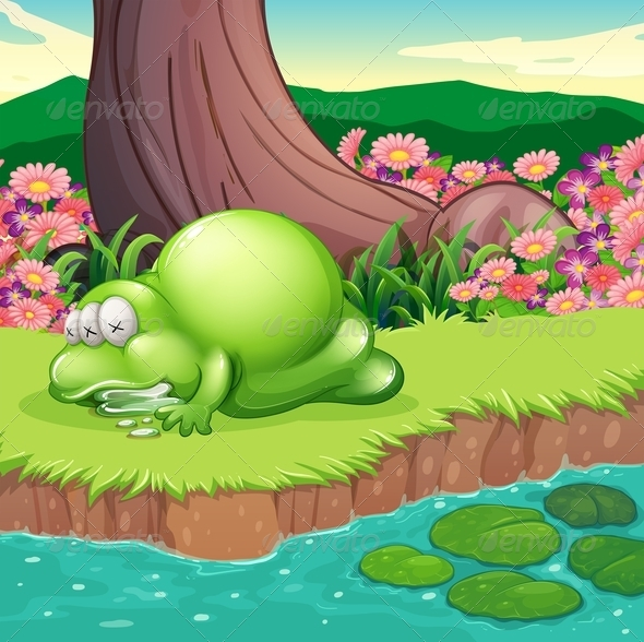 GraphicRiver A Monster Lying at the Riverbank 8022115