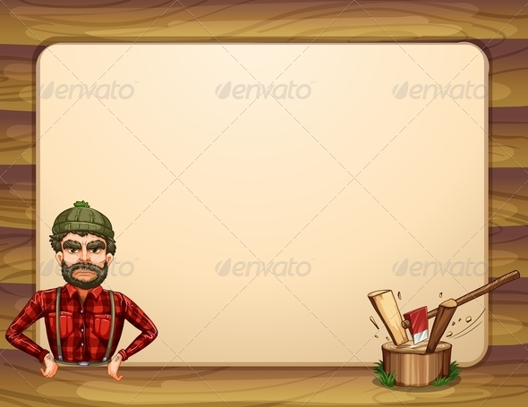 GraphicRiver Empty Wooden Frame Template with a Lumberjack 8022138