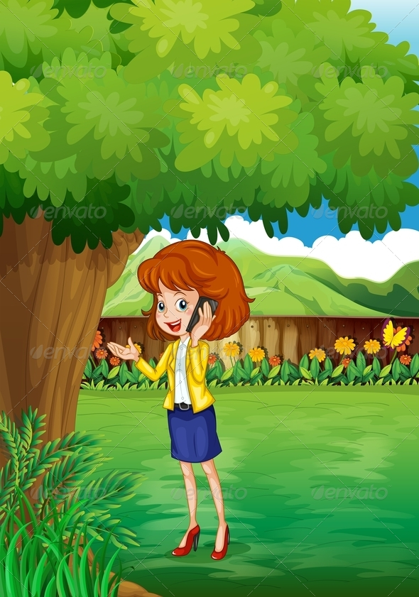 GraphicRiver Woman with a Cellphone Standing Under a Tree 8022163