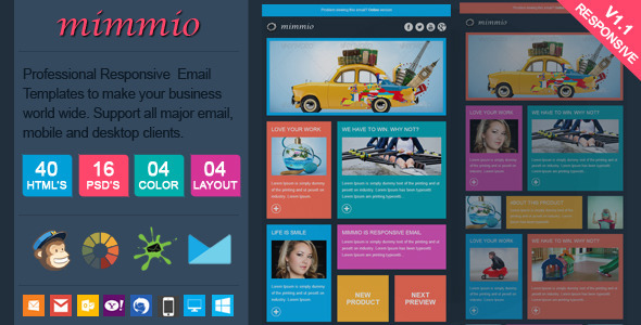 ThemeForest Mimmio Metro Style Responsive Email Template 7968357